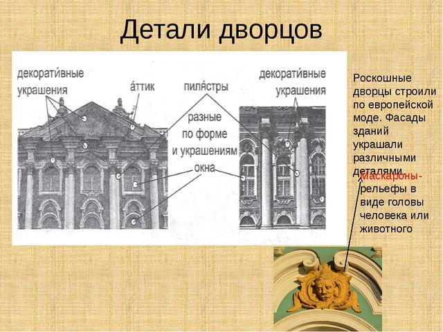 Детали дворцов Роскошные дворцы строили по европейской моде. Фасады зданий ук...