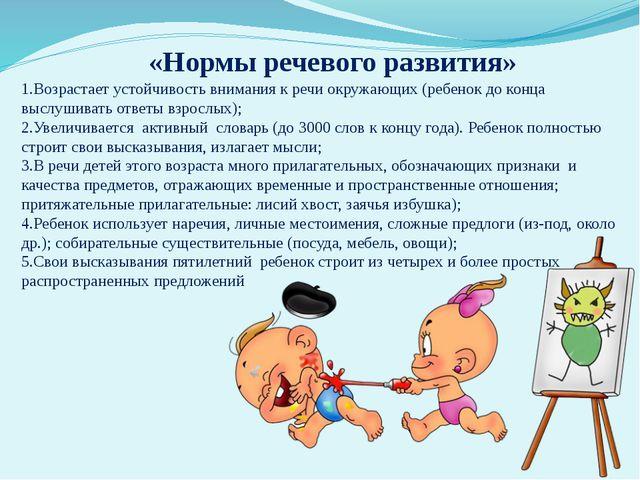 «Нормы речевого развития» 1.Возрастает устойчивость внимания к речи окружающи...