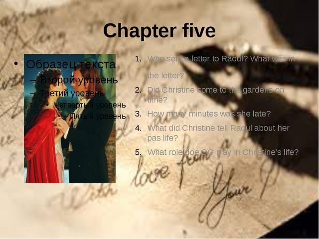 Chapter five Who sent a letter to Raoul? What was in the letter? Did Christin...