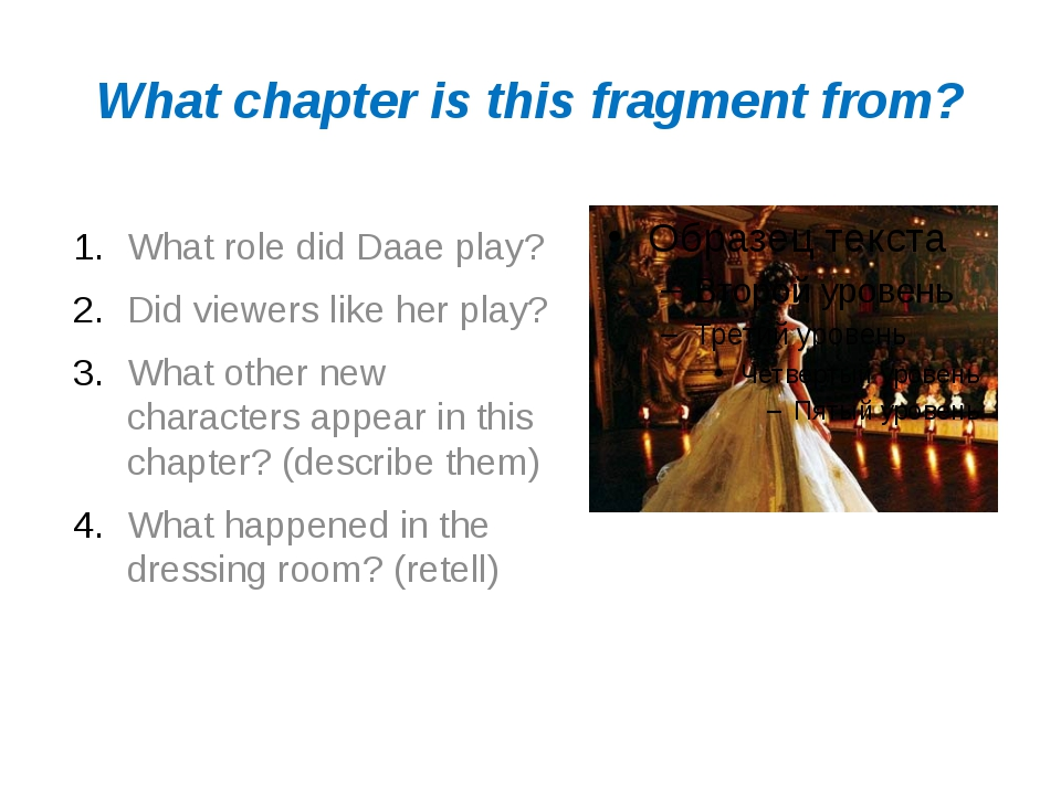 What chapter is this fragment from? What role did Daae play? Did viewers like...