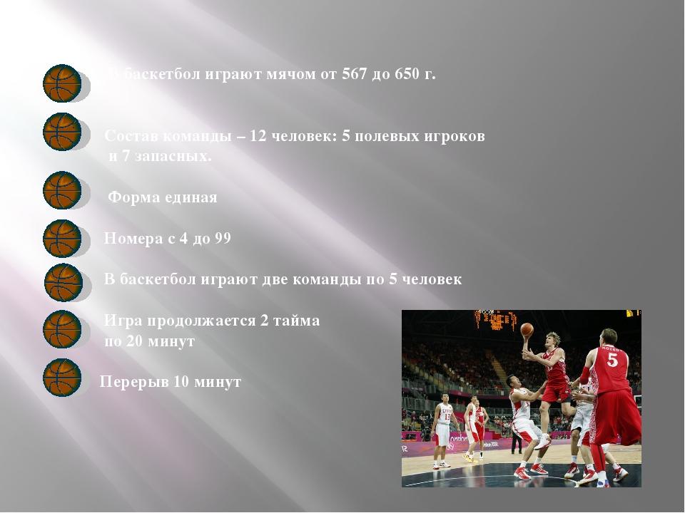 В баскетбол играют мячом от 567 до 650 г. Состав команды – 12 человек: 5 пол...