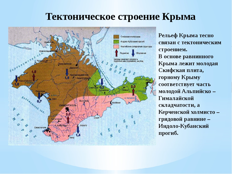 Тектоническое строение Крыма Рельеф Крыма тесно связан с тектоническим строен...