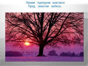 Ярким пурпуром зажглися Пред закатом небеса. Ярким пурпуром зажглися Пред за