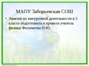 МАОУ Заборьевская СОШ Занятие по внеурочной деятельности в 5 классе подготов