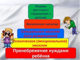Пренебрежение нуждами ребёнка Психическое (эмоциональное) насилие Сексуальное