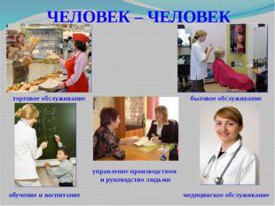 ЧЕЛОВЕК – ЧЕЛОВЕК управление производством и руководство людьми торговое обсл