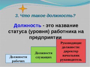 3. Что такое должность? Должность - это название статуса (уровня) работника н