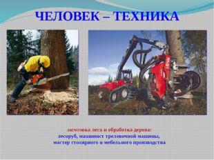 ЧЕЛОВЕК – ТЕХНИКА заготовка леса и обработка дерева: лесоруб, машинист трелев