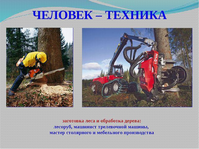ЧЕЛОВЕК – ТЕХНИКА заготовка леса и обработка дерева: лесоруб, машинист трелев...