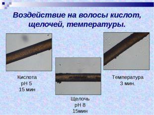 Воздействие на волосы кислот, щелочей, температуры. Кислота рН 5 15 мин Щело