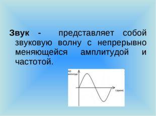 Звук - представляет собой звуковую волну с непрерывно меняющейся амплитудой и