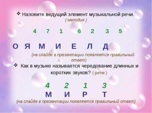 Назовите ведущий элемент музыкальной речи. ( мелодия ) 4 7 1 6 2 3 5 О Я М И