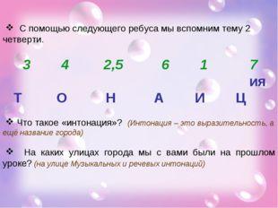 С помощью следующего ребуса мы вспомним тему 2 четверти. 3 4 2,5 6 1 7 ия Т