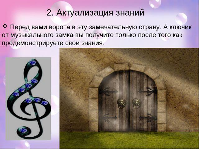 2. Актуализация знаний Перед вами ворота в эту замечательную страну. А ключик...