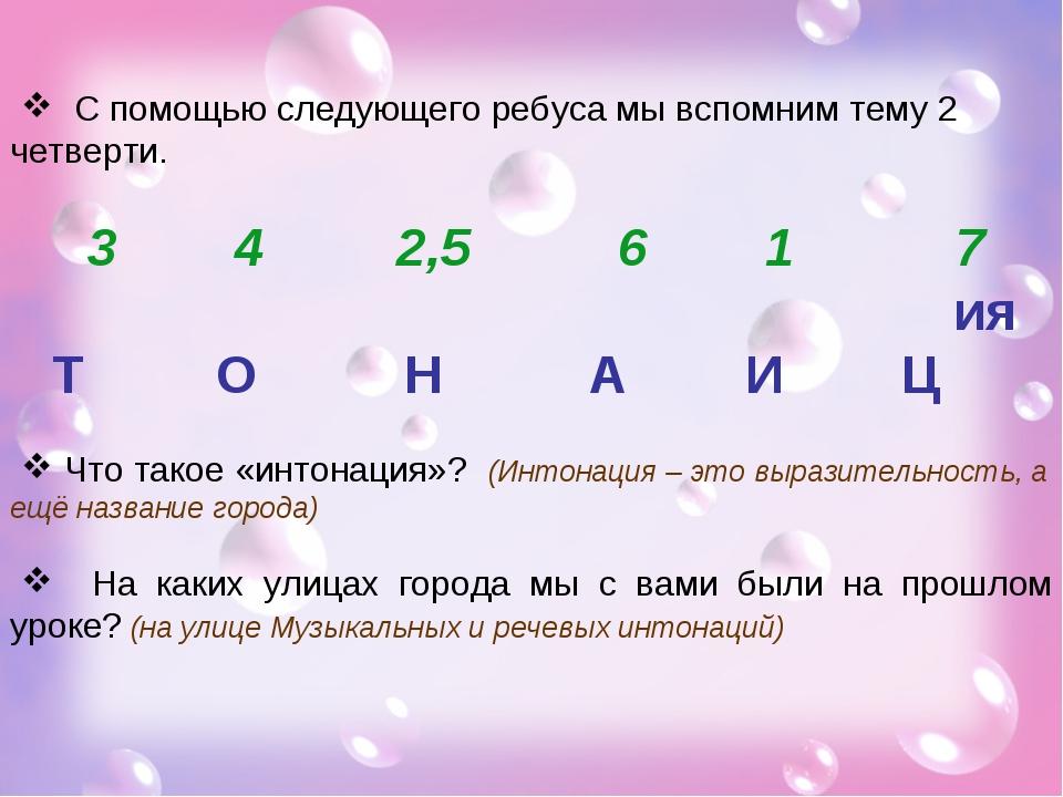 С помощью следующего ребуса мы вспомним тему 2 четверти. 3 4 2,5 6 1 7 ия Т...