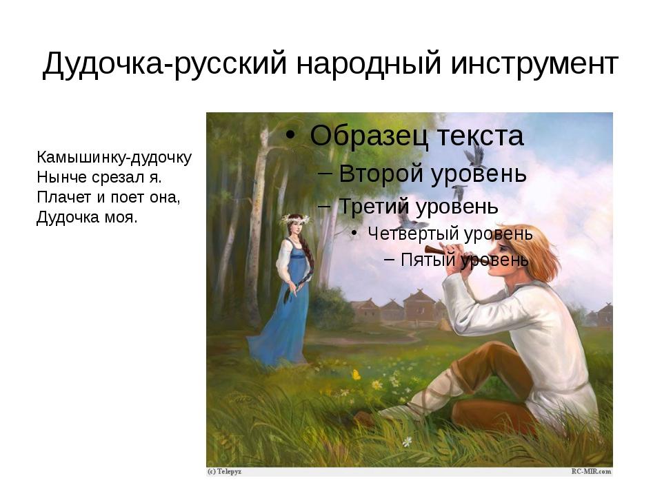 Дудочка-русский народный инструмент Камышинку-дудочку Нынче срезал я. Плачет...
