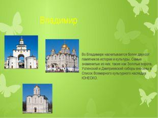 Владимир Во Владимире насчитывается более двухсот памятников истории и культ