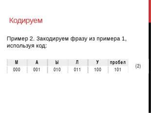 Кодируем Пример 2. Закодируем фразу из примера 1, используя код: