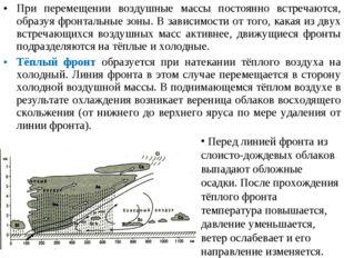 При перемещении воздушные массы постоянно встречаются, образуя фронтальные зо