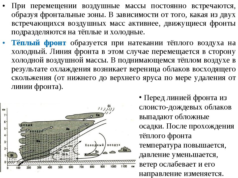 При перемещении воздушные массы постоянно встречаются, образуя фронтальные зо...