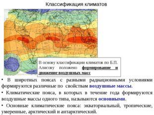 Классификация климатов В широтных поясах с разными радиационными условиями фо