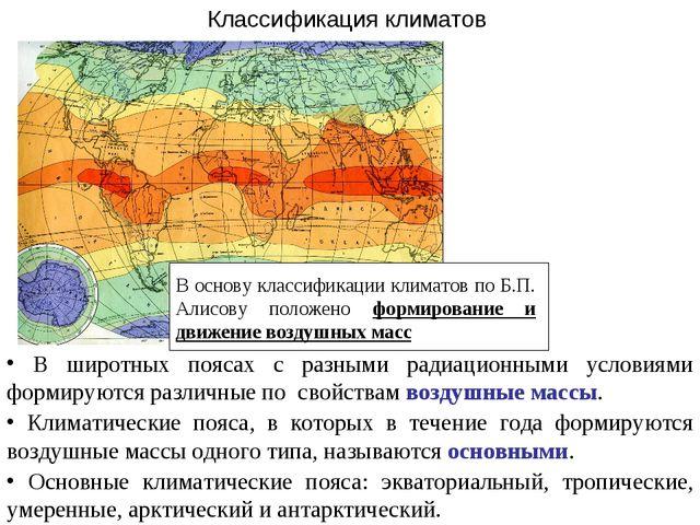 Классификация климатов В широтных поясах с разными радиационными условиями фо...