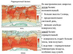 Во внетропических широтах летом баланс положительный: больше высота Солнца, п
