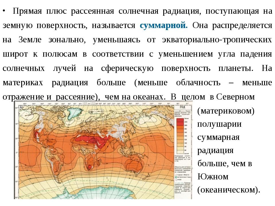 Прямая плюс рассеянная солнечная радиация, поступающая на земную поверхность...