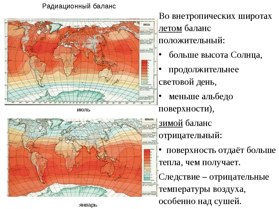 Во внетропических широтах летом баланс положительный: больше высота Солнца, п...