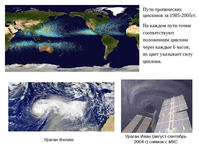Пути тропических циклонов за 1985-2005гг. На каждом пути точки соответствуют...