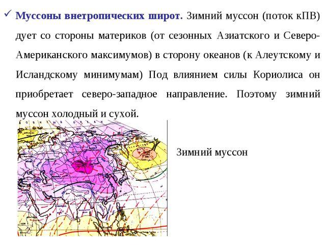 Муссоны внетропических широт. Зимний муссон (поток кПВ) дует со стороны матер...