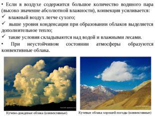Кучевые облака хорошей погоды (конвективные) Кучево-дождевые облака (конвекти