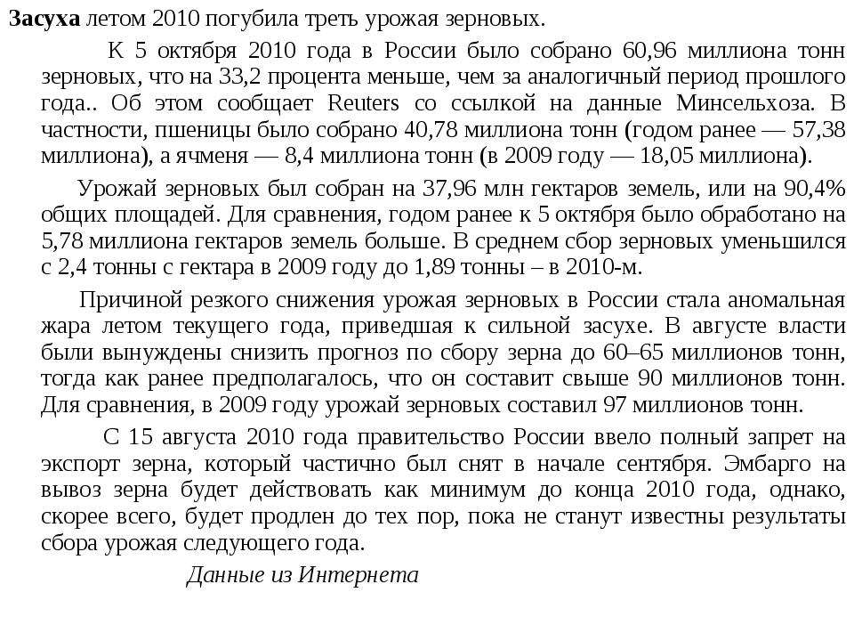 Засуха летом 2010 погубила треть урожая зерновых. К 5 октября 2010 года в Рос...