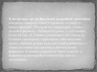 В настоящее время Крымский природный заповедник считается одним из самых стар
