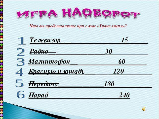Телевизор___ 15 Радио________________30 Магнитофон__ 60 Красную площадь___ 12...