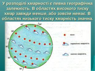 У розподілі хмарності є певна географічна залежність. В областях високого тис