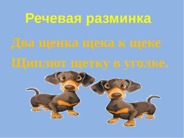 Два щенка щека к щеке Щиплют щетку в уголке. Речевая разминка
