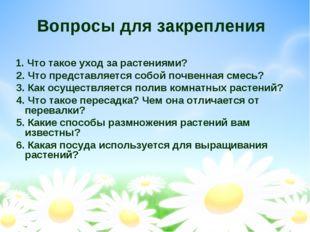 Вопросы для закрепления 1. Что такое уход за растениями? 2. Что представляетс