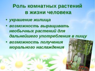 Роль комнатных растений в жизни человека украшение жилища возможность выращив