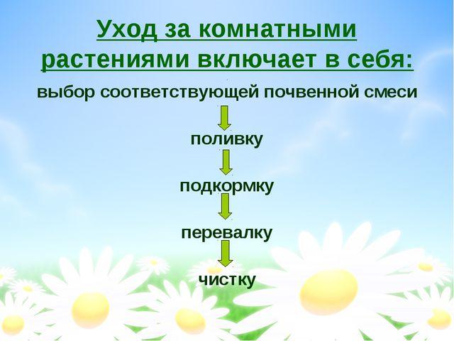 Уход за комнатными растениями включает в себя: выбор соответствующей почвенно...