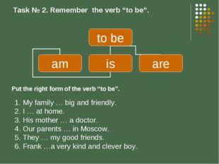"Task № 2. Remember the verb ""to be"". My family … big and friendly. I … at hom"