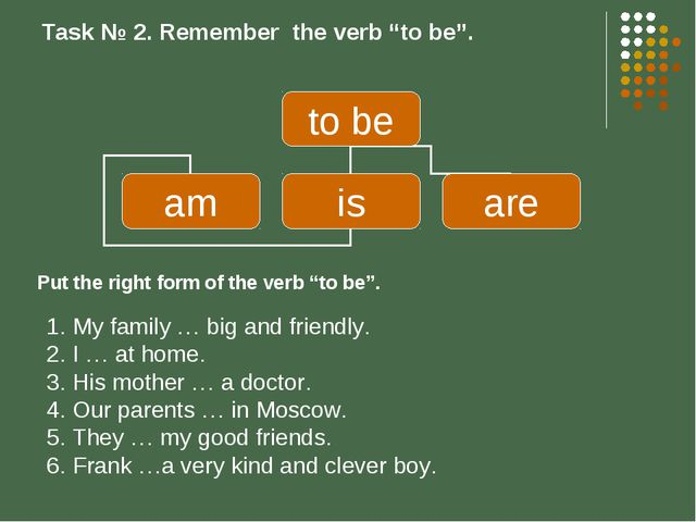 "Task № 2. Remember the verb ""to be"". My family … big and friendly. I … at hom..."