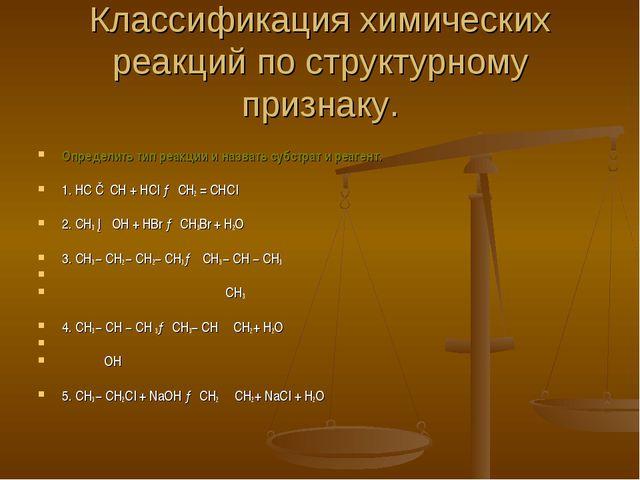 Классификация химических реакций по структурному признаку. Определить тип реа...