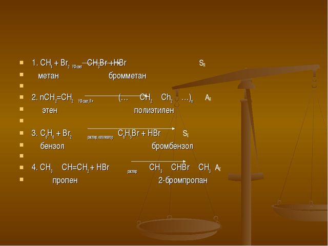 1. CH4 + Br2 УФ-свет  CH3Br +HBr SR метан бромметан  2. nCH2=CH2 УФ-свет, R...