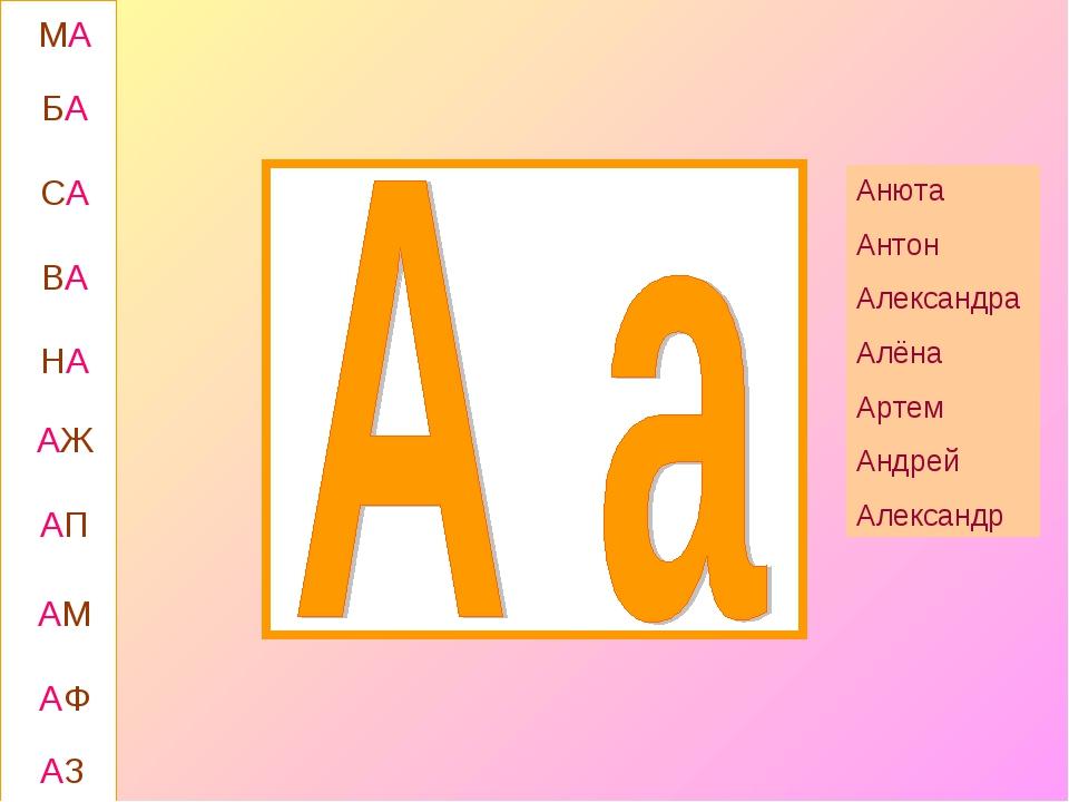 МА БА СА ВА АЖ НА АП АМ АФ АЗ Анюта Антон Александра Алёна Артем Андрей Алекс...