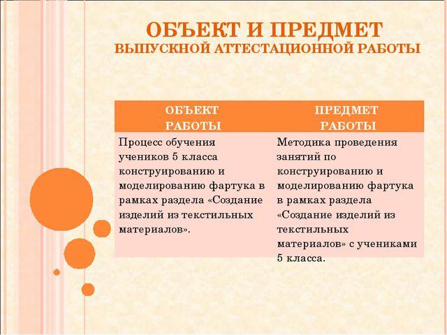 ОБЪЕКТ И ПРЕДМЕТ ВЫПУСКНОЙ АТТЕСТАЦИОННОЙ РАБОТЫ ОБЪЕКТ РАБОТЫПРЕДМЕТ РАБОТЫ...