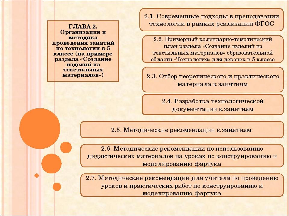 ГЛАВА 2. Организация и методика проведения занятий по технологии в 5 классе (...