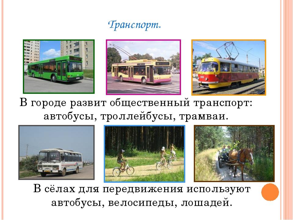 Транспорт. В городе развит общественный транспорт: автобусы, троллейбусы, тра...