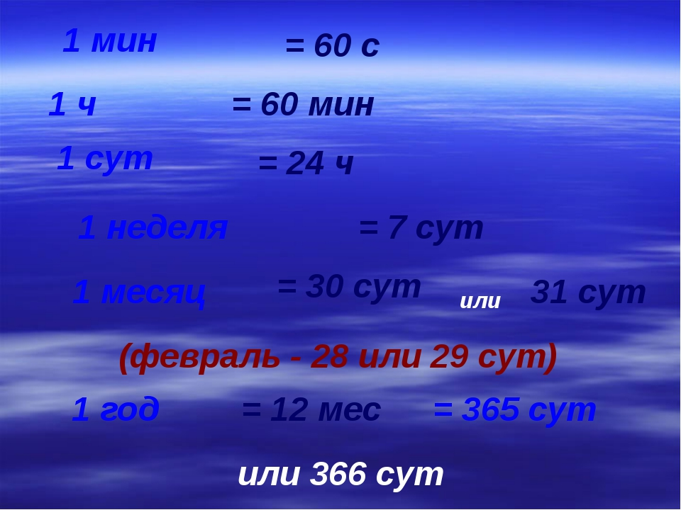1 мин 1 ч 1 сут 1 неделя 1 месяц 1 год = 60 с = 60 мин = 24 ч = 7 сут = 30 су...