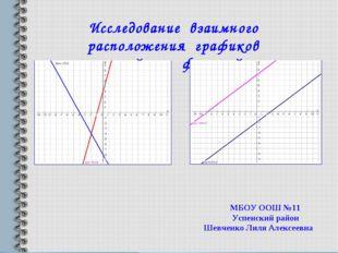 Исследование взаимного расположения графиков линейных функций» МБОУ ООШ №11 У
